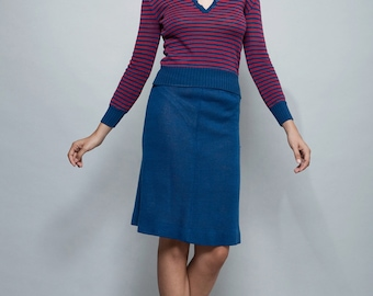 vintage 60s 70s Kimberly knit sweater skirt set top stripes navy blue red S M SMALL MEDIUM