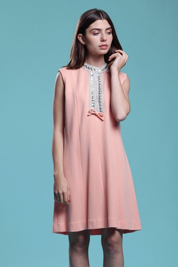 9c58314da9c8cb evening shift dress pink apricot knit sleeveless silver
