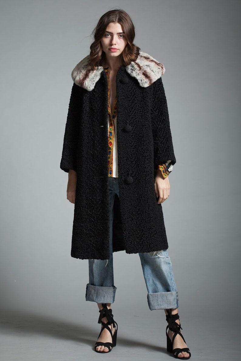 c7b1fa5623d 60s fur trim coat rex rabbit fur chinchilla fur coat curly