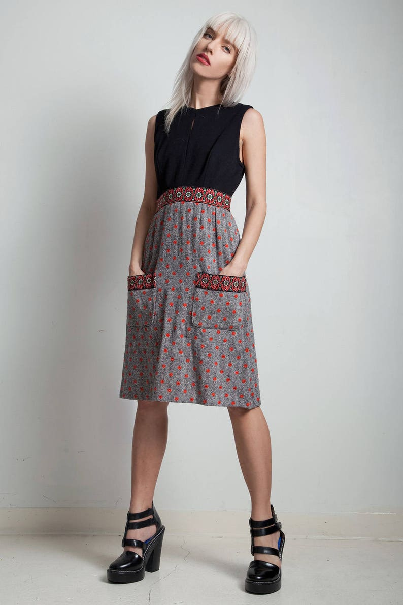 65c825129c Vintage 60s pocket dress keyhole sleeveless black red polka | Etsy