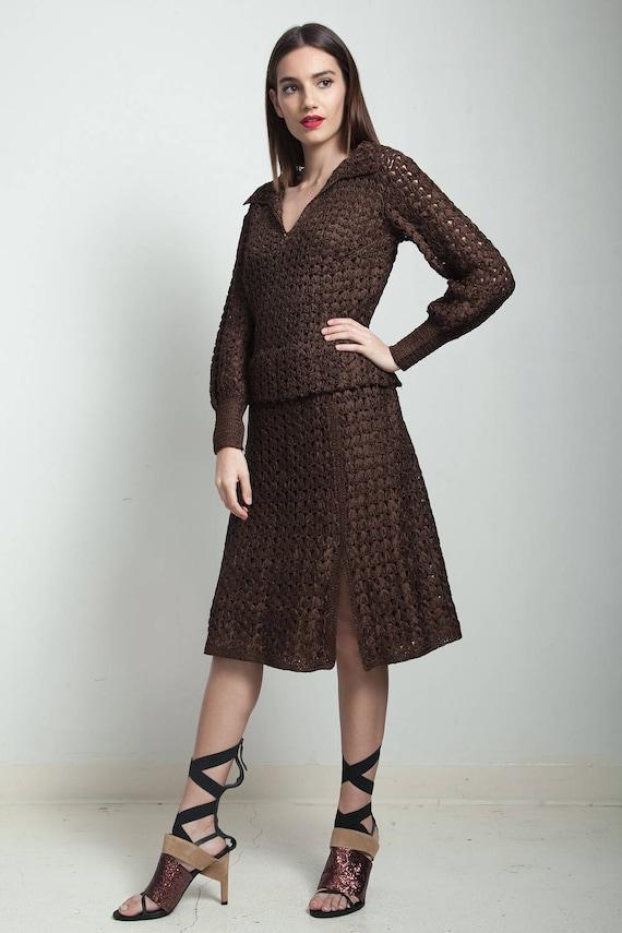 vintage 40s brown macrame ribbon dress slit long s