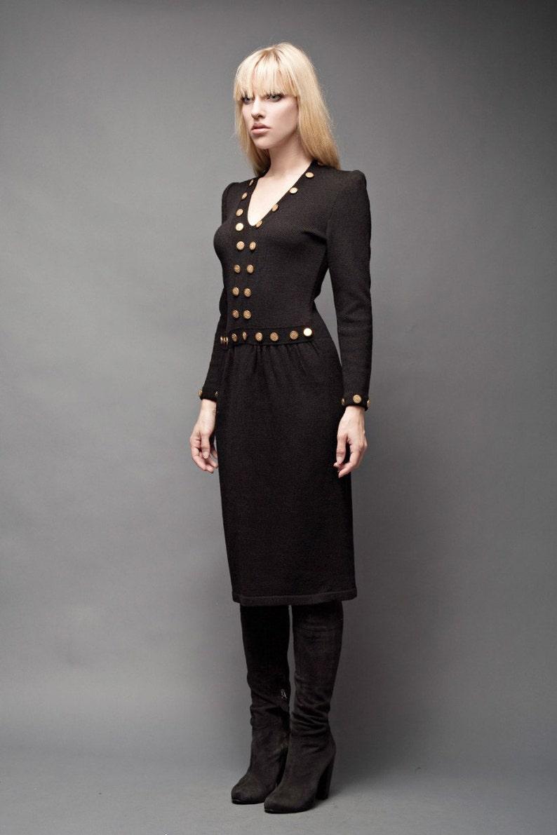 7cec86eea00 Sweater dress knit dress black Vintage 80s Santana Knit