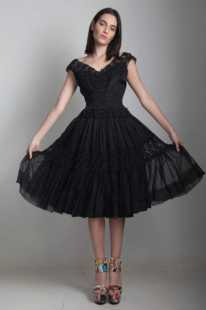 bcdd011c3 Vintage 50s black party dress wasp waist fit and flare beaded