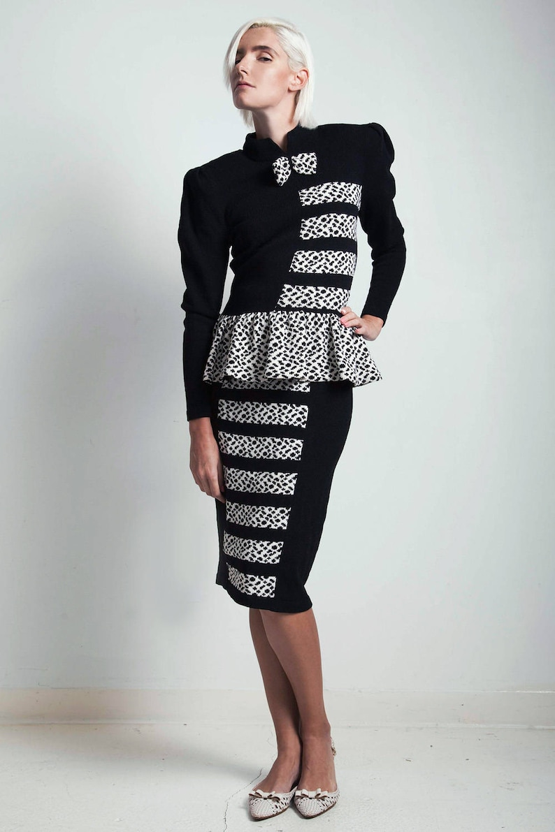 aafa14b2da4 Vintage 80s black white 2-piece knit sweater dress set polka