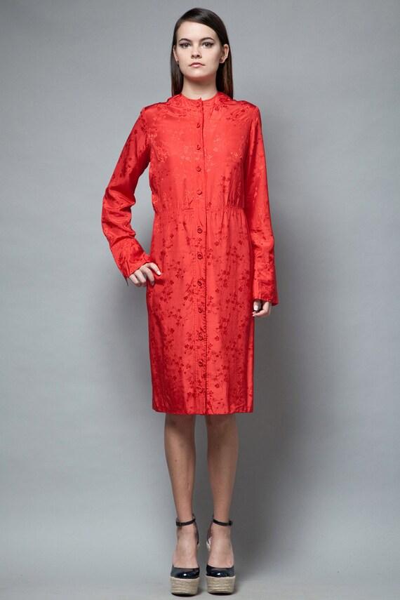 red silk dress vintage 70s 100% silk Asian Orienta