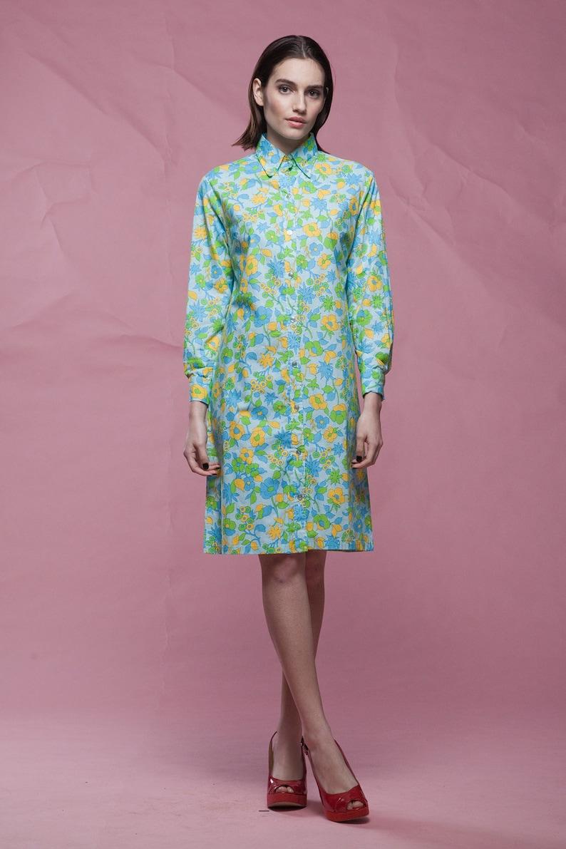 2b0c26e7c16 Cotton shirt dress blue yellow floral print long sleeves