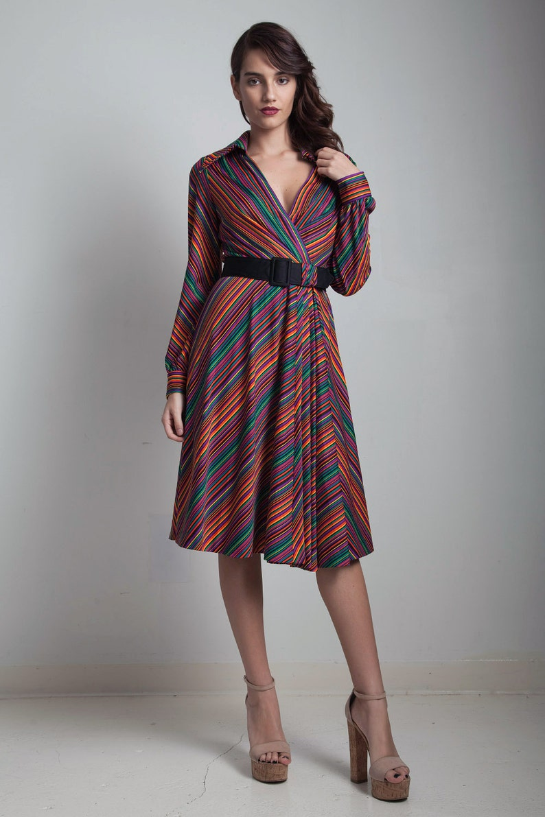 d2f23c35f7b Vintage 80s Chevron striped wrap dress colorful pleated belted