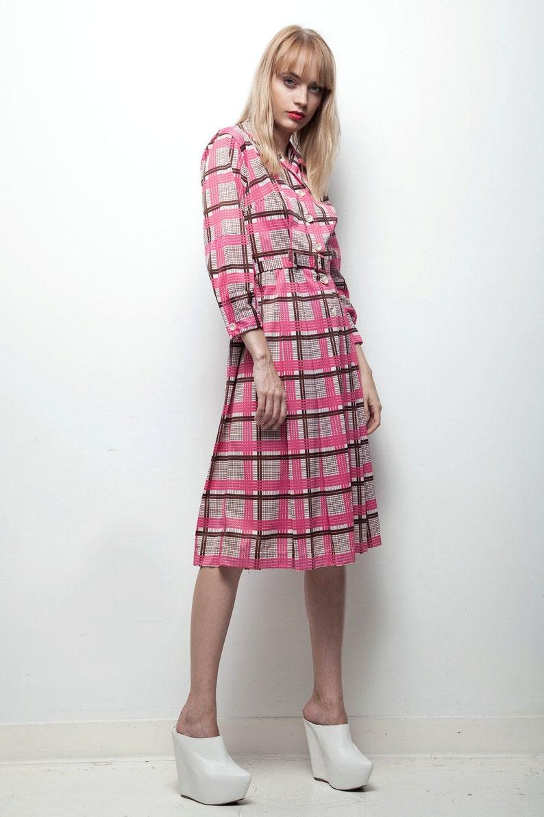 huge discount 9d561 0e628 rosa vestito a quadri, camicia a quadri, vestito shirtwaist, manica lunga  vintage dress, pieghe gonna 70s medio M