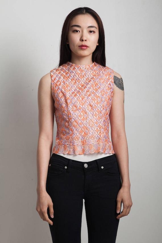 vintage 60s sleeveless lace top purple orange EXT… - image 1