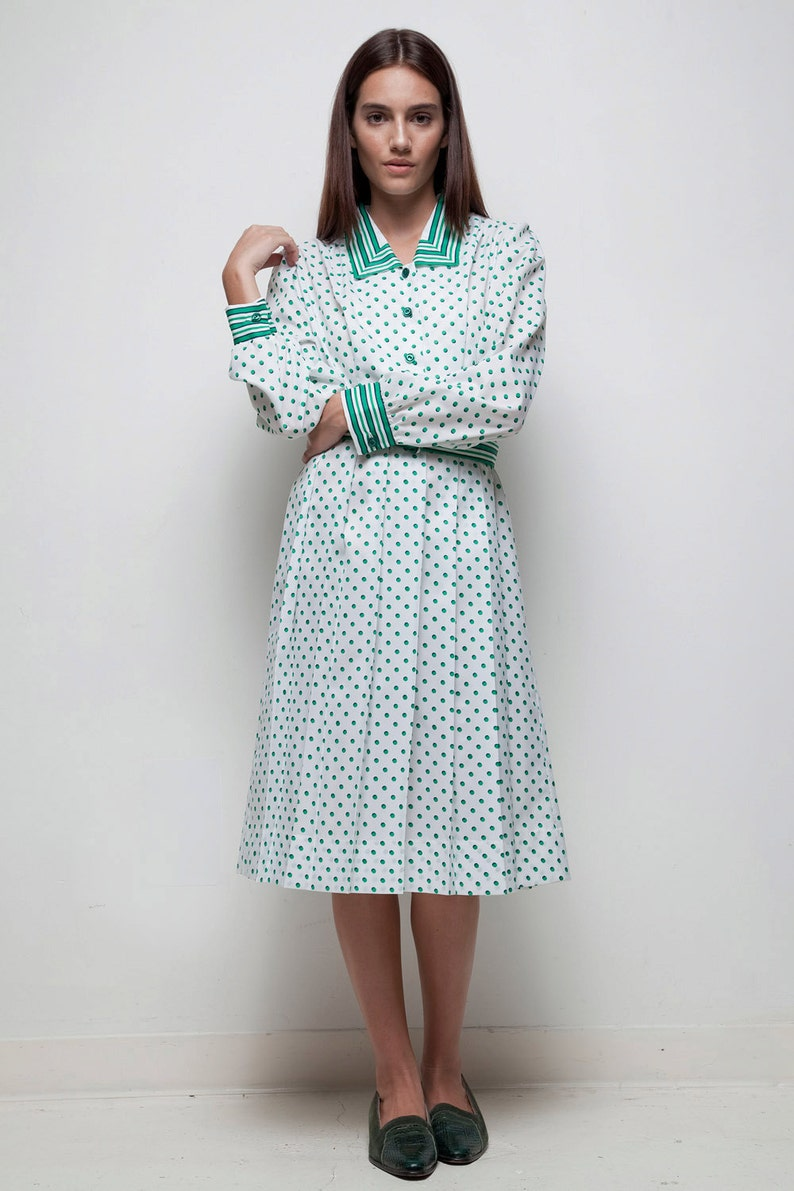 0a5fe51c022 Shirtwaist dress green polka dot striped pleated belted long