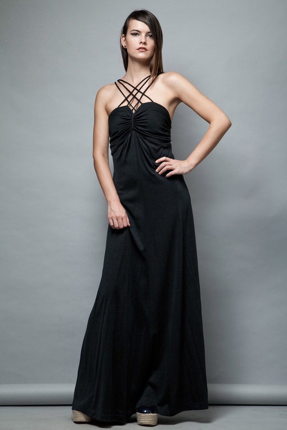 black maxi dress vintage 1970s convertible strappy