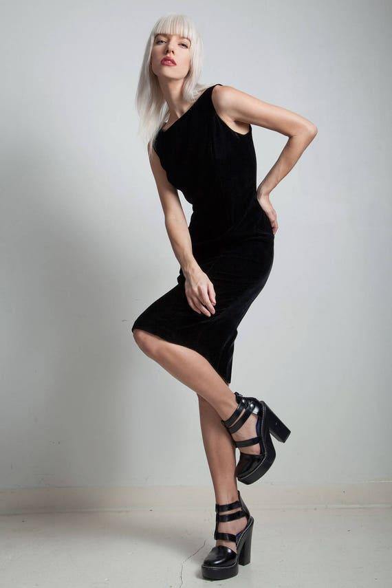 Vintage 80s Little Black Dress Lbd Velvet Sheath Sleeveless Etsy