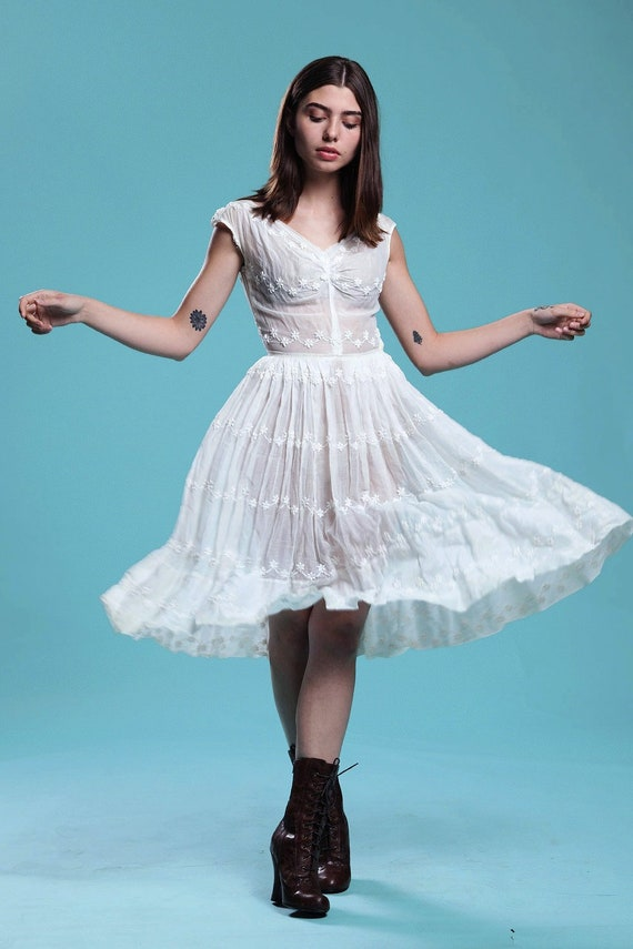 Sheer White Dress New Look Fit And Flare Pleated Full