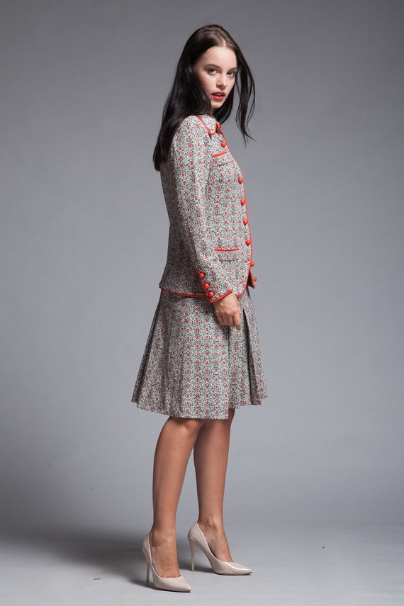 Mid-Century Italian Knit Ensemble Vintage 1950s Gray Knit Skirt Suit 50s Amalfi Charcoal Wool Top and Pencil Skirt Set Small-Medium
