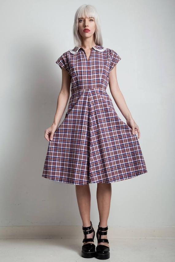 vintage 40s dress, 50s cotton day dress, madras pl