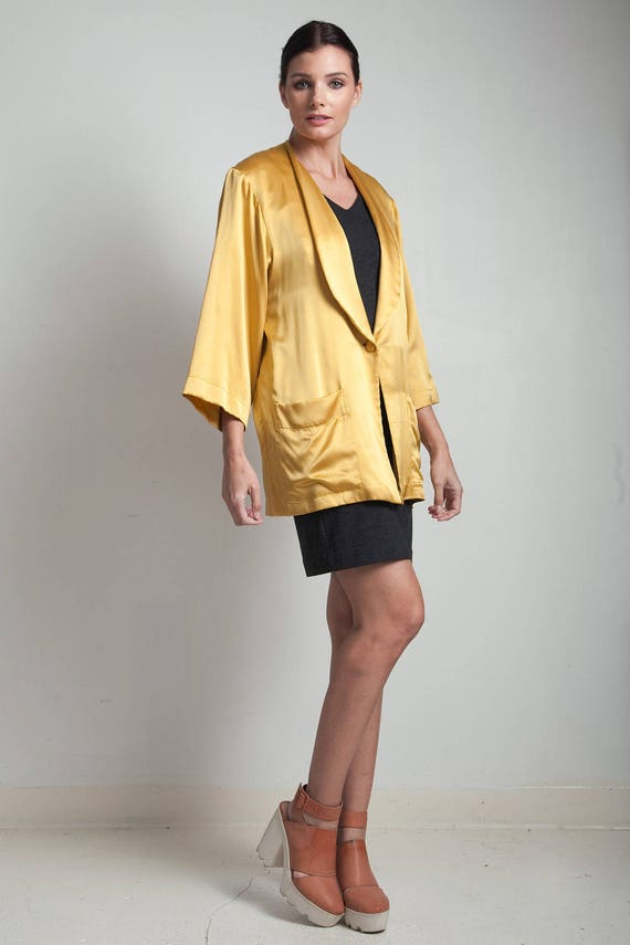 mustard gold flowy jacket top blouse silk yellow … - image 1