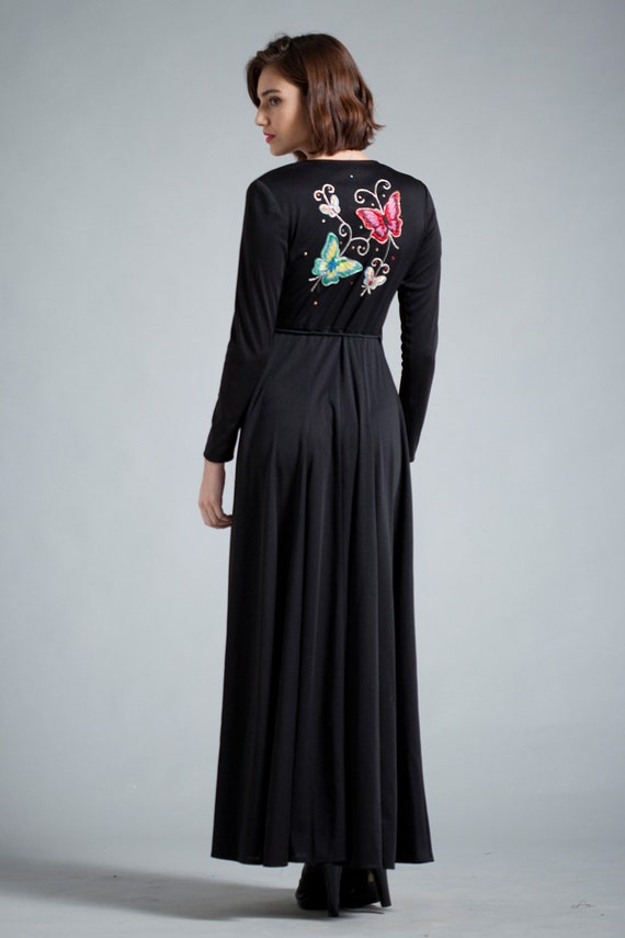 Vintage 70s Maxi Wrap Dress Black Long Sleeves Butterfly Etsy