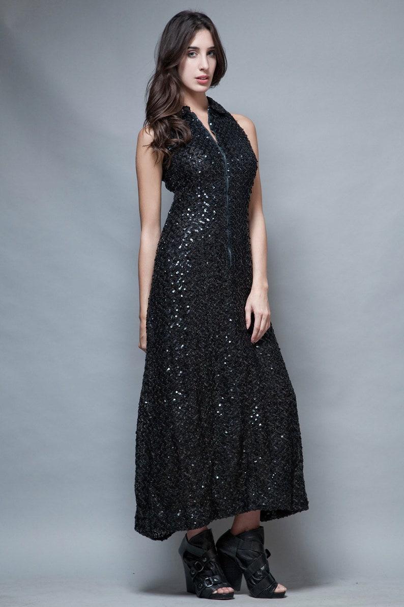546a0e1e589 Vintage 70s party dress gown long maxi black sequins