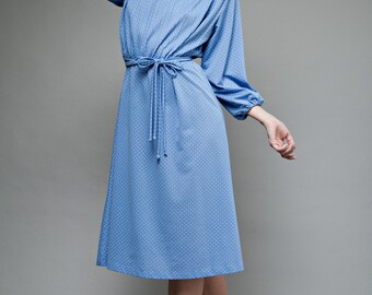 """vintage 70s day dress blue white polka dot belt belted pleat pleated XL 1X plus size extra large (32""""-36"""" waist)"""