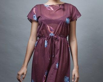 vintage 70s day dress burgundy sheer polka dot floral keyhole bow M L