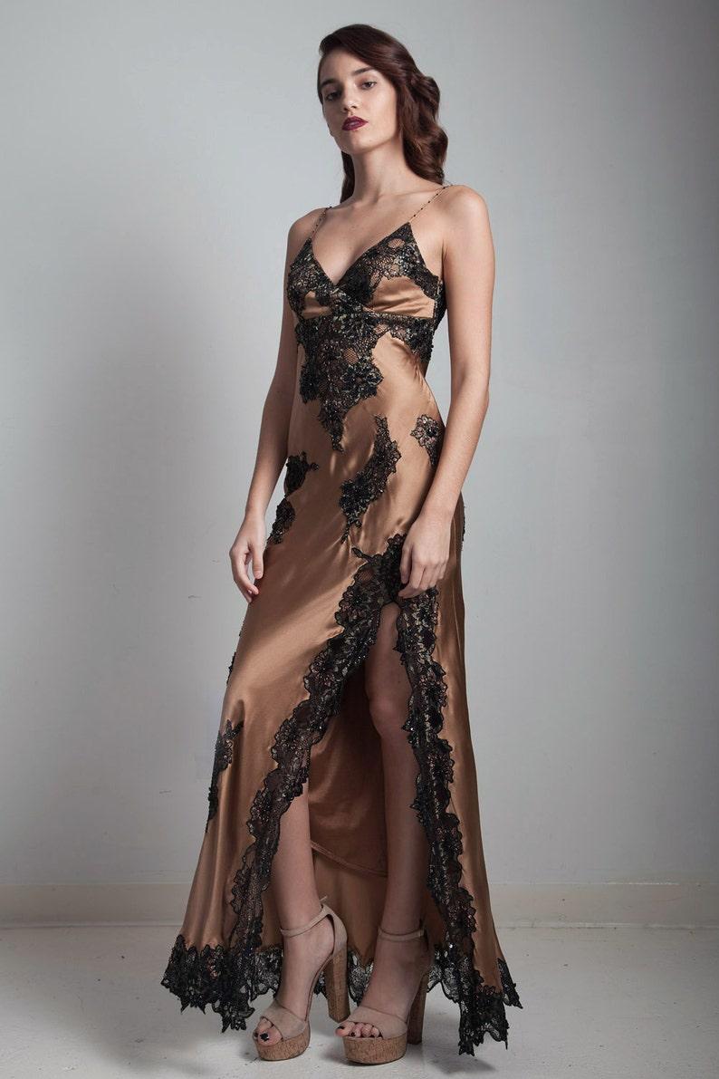 2c3ceeecd02 Slinky slip evening dress gown high slit golden brown bronze