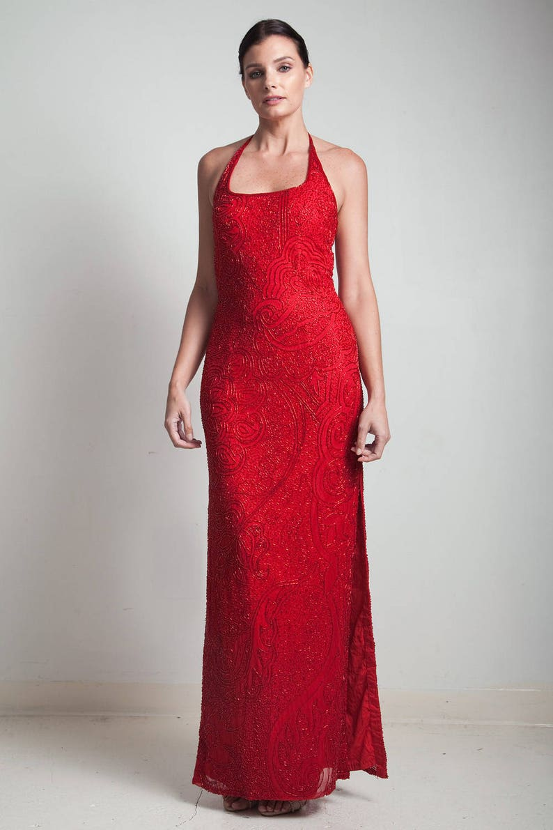cc206e74907 90s red halter beaded dress evening silk gown vintage high side slit SMALL  MEDIU... 90s red halter beaded dress evening silk gown vintage high side  slit ...