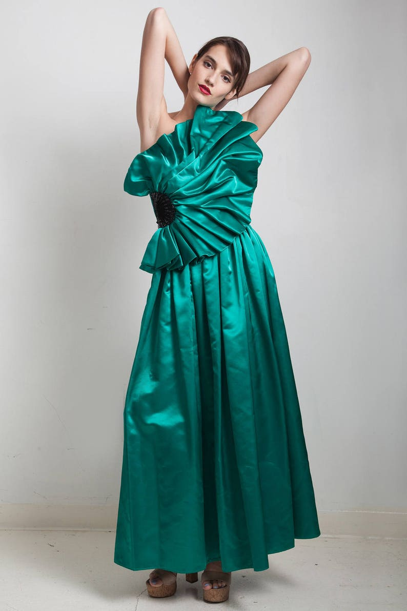 vintage 80s evening gown formal evening dress asymmetrical origami pleated sequins green floor length one shoulder SMALL S