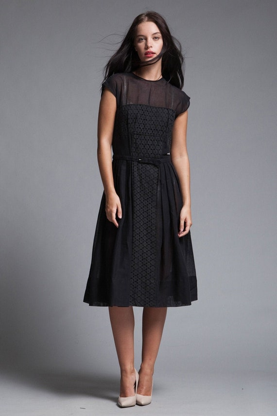 pleated day dress belted sheer black gauze cotton
