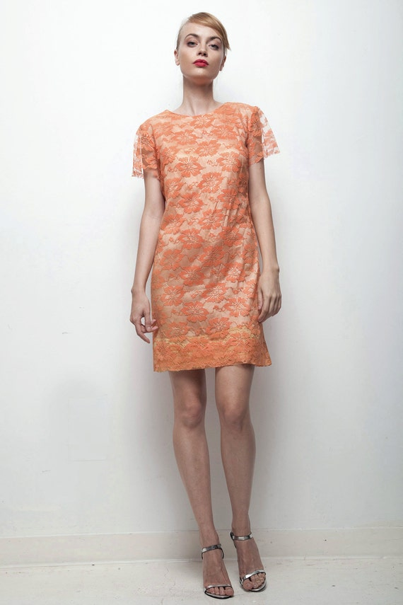 Orange Lace Mini Dress 1960s Tangerine Cocktail Dress Short Sleeves Small S