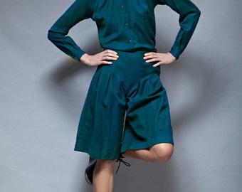culottes pleated shorts pants shirt set vintage 70s 2-piece blue wool S