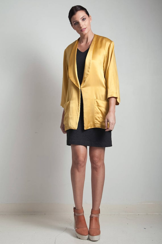 mustard gold flowy jacket top blouse silk yellow … - image 5