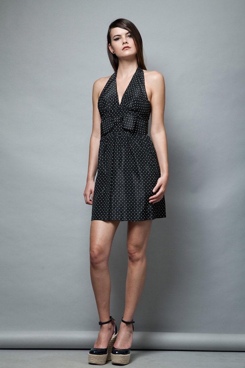 f8295a8e3 1960s playsuit dress MOD halter bow polka dot open back black   Etsy