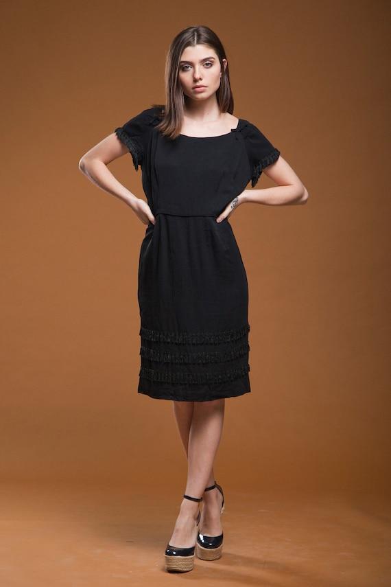 vintage 50s 1950s fringed dress black crepe bow fr