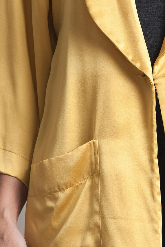 mustard gold flowy jacket top blouse silk yellow … - image 3