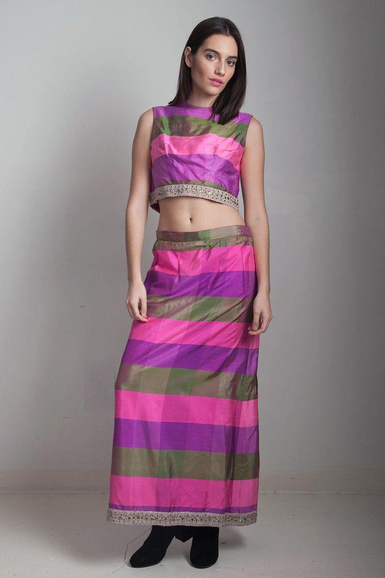e31feca1b3da4e Raw silk crop top maxi skirt set 2-piece vintage 70s pink