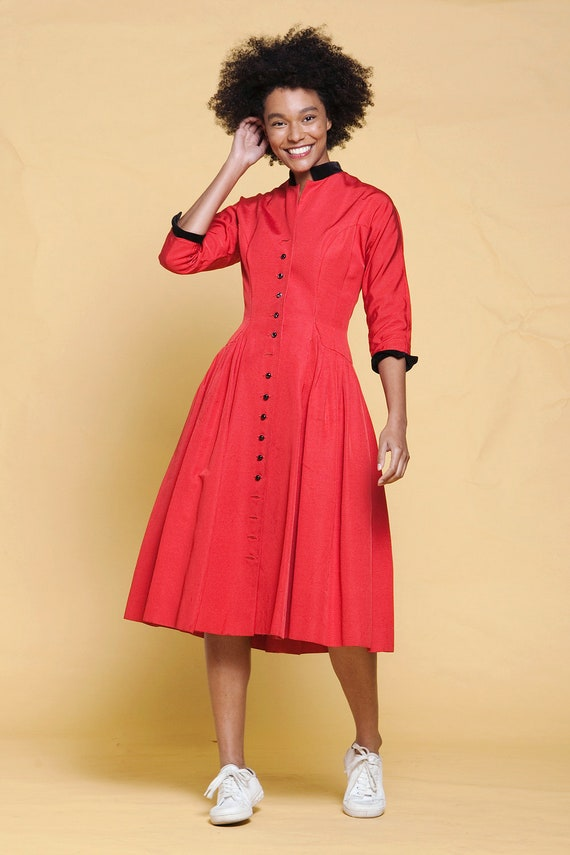 50s princess coat dress Mary Poppins pleated red f