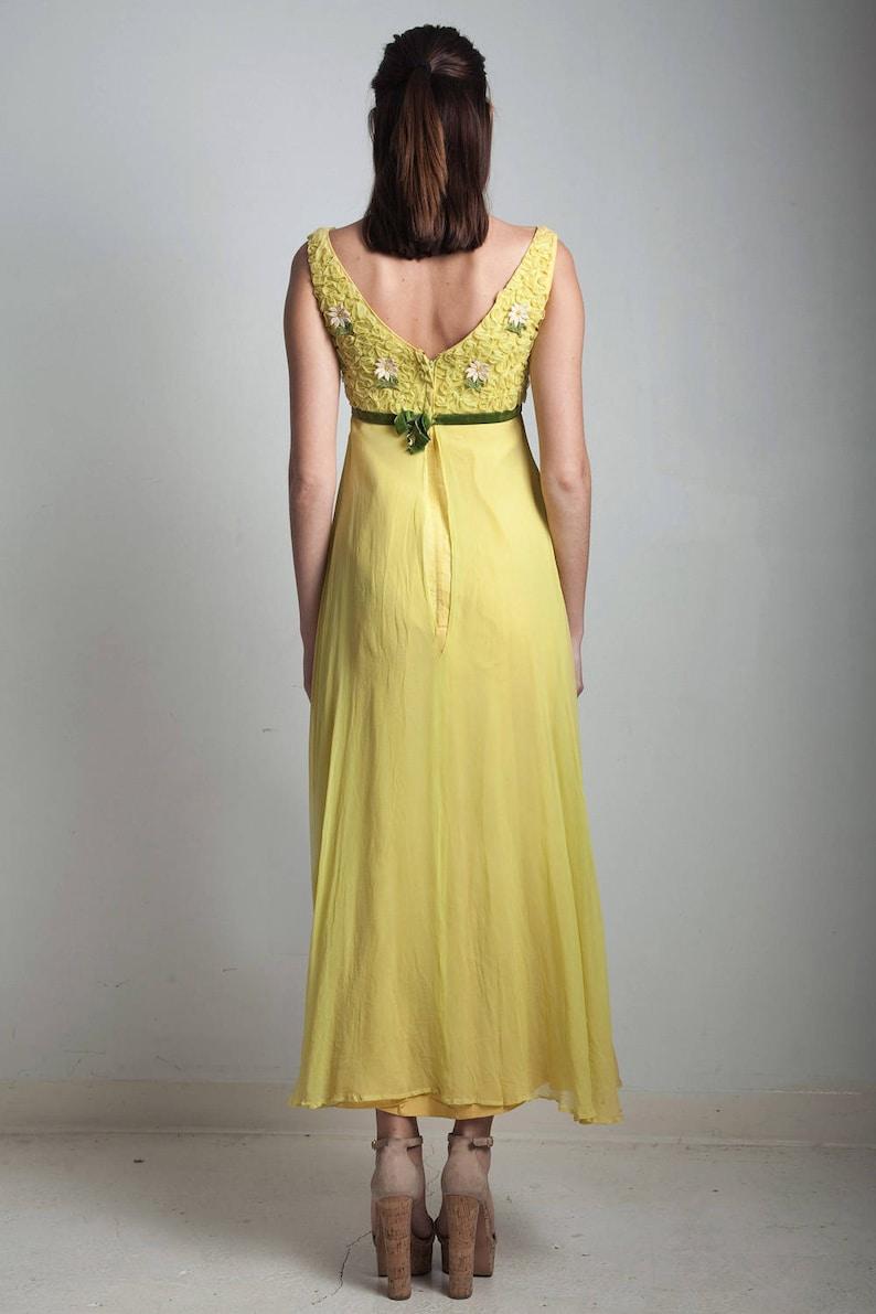 71c94861b40f7 Vintage 60s yellow empire maxi dress floral applique ribbon   Etsy