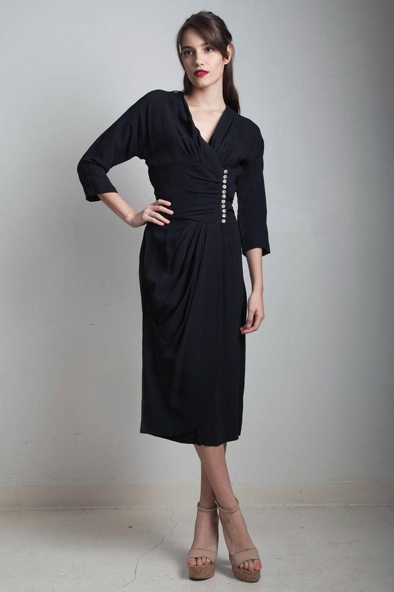 ea3583a322b Vintage 40s black crepe dress gathered rhinestone buttons