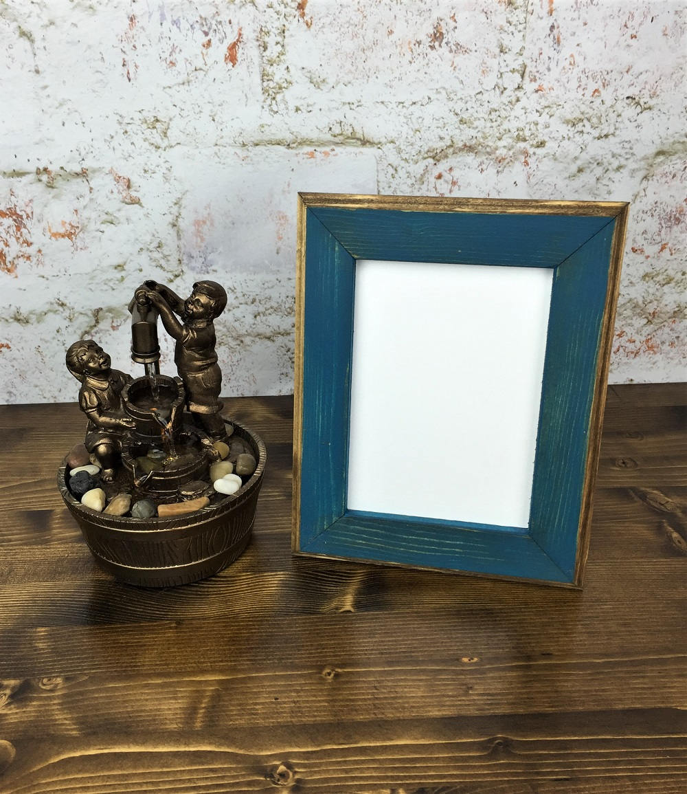 5 X 7 Picture Frame Teal Rustic Weathered Style With