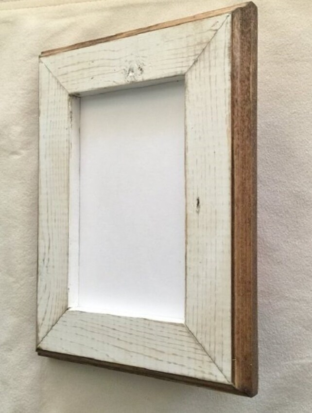 10 X 13 White Rustic Weathered Picture Frame With Routed Edges