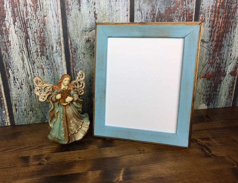 8 x 10 Picture Frame Baby Blue Rustic Weathered Style With image 0