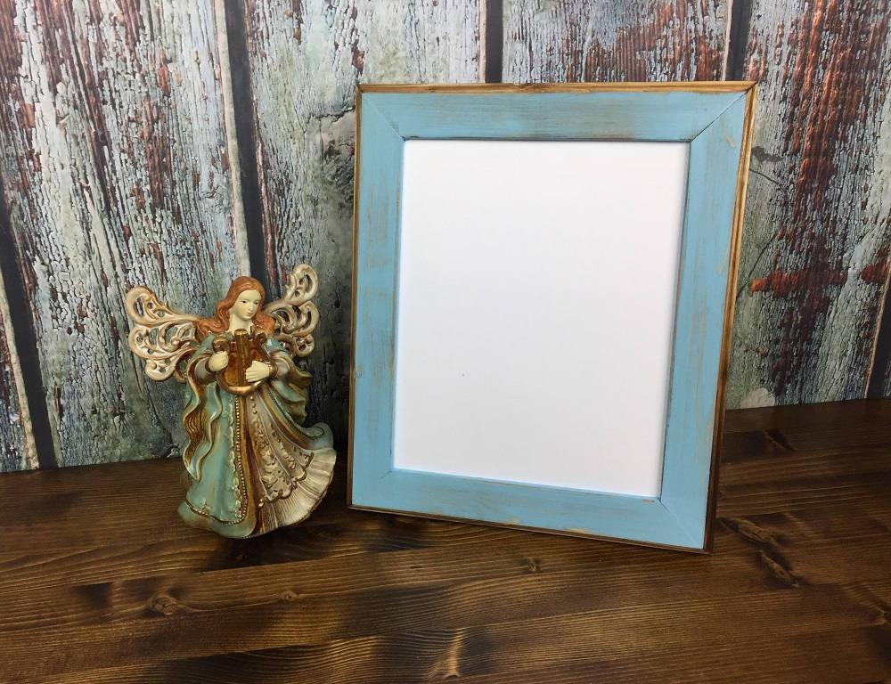 Marco de 8 x 10 bebé azul rústico resistido estilo con bordes   Etsy