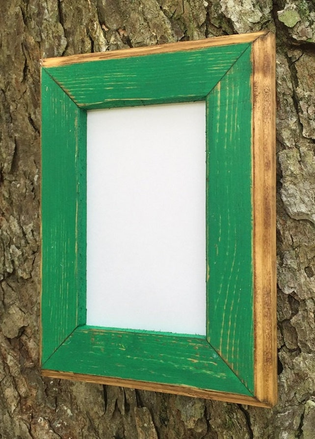 8 X 10 Picture Frame Green Rustic Weathered Style With Routed Edges