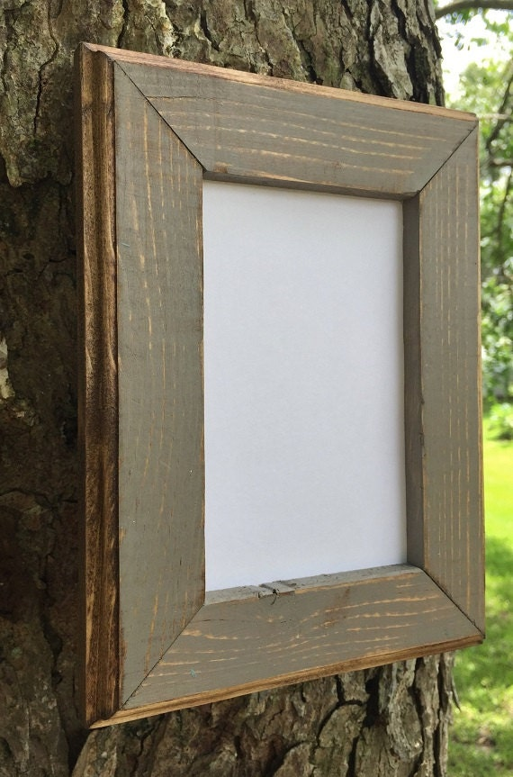 8 x 10 Picture Frame Gray Rustic Weathered Style With Routed | Etsy