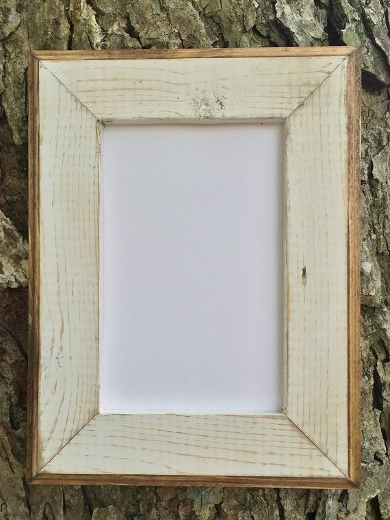 10 x 13 White Rustic Weathered Picture Frame with Routed | Etsy