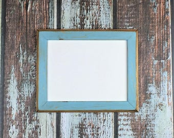 """8.5 x 11"""" Wooden Picture Frame, Baby Blue, Rustic  Weathered Style With Routed Edges, Rustic Home Decor. Rustic Wood Frames, Rustic Frames"""