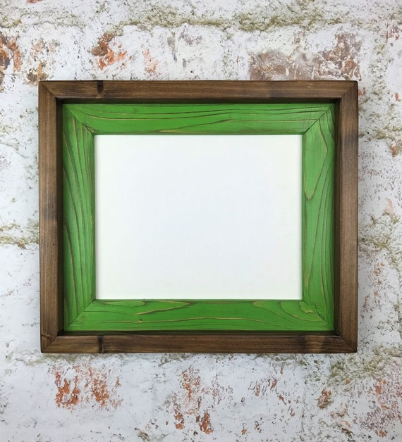 10 X 13 Rustic Weathered Picture Frame Lime Green Stacked And Etsy