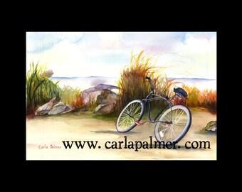 Seaside Watercolor Bicycle