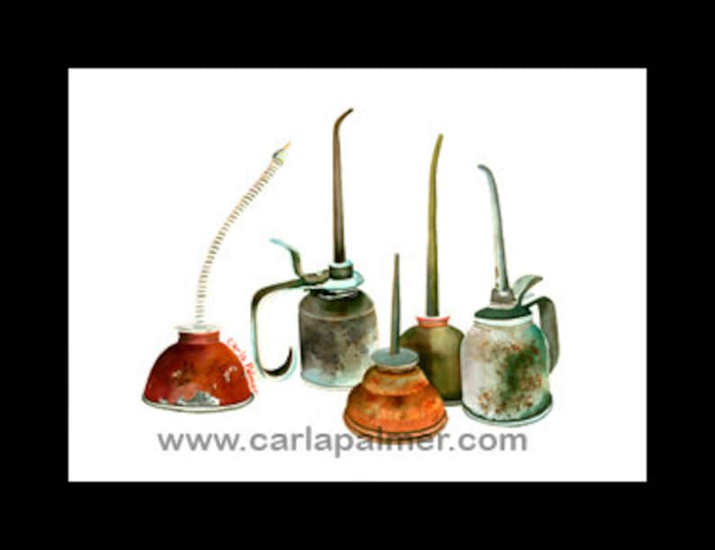 Oil Cans, Vintage Oil Cans, Watercolor,