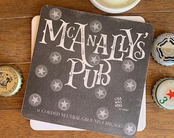 McANALLY'S PUB - Souvenir Drink Coaster Beermat - Original Design by Lisa Was Here, The Coaster Gal